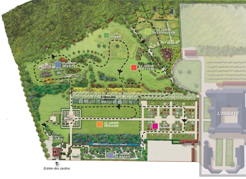 Carte parcours Jardins de Valloires