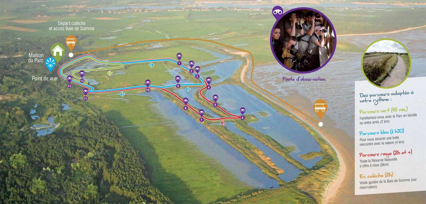 Carte parcours du Parc du Marquenterre