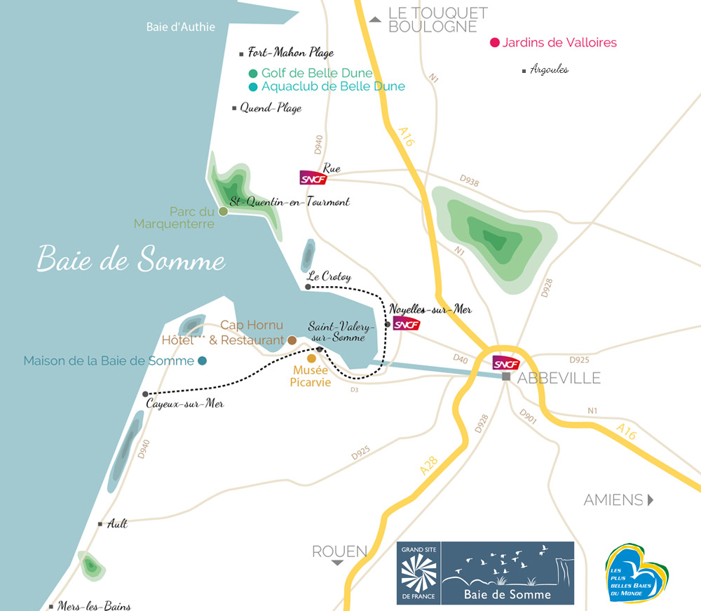 Carte des sites Destination Baie de Somme